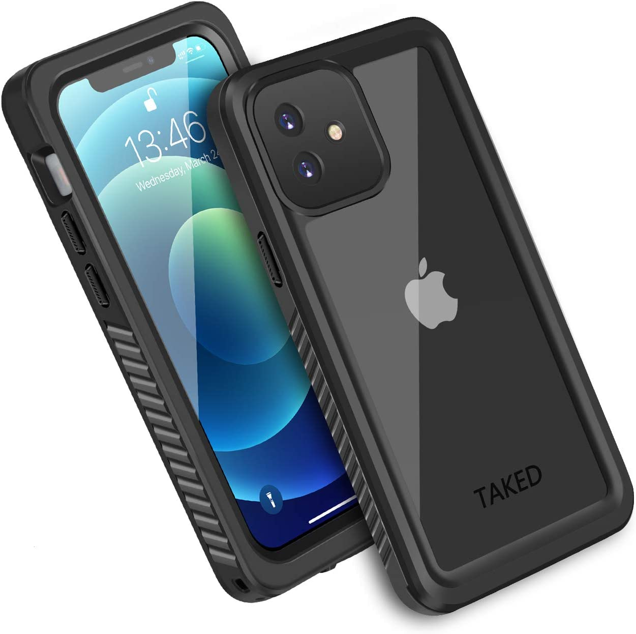 iPhone 12 Mini Waterproof Case, Shockproof Dustproof Snowproof Fully-Body Protective Cover with Screen Protector Clear Back New Designed for iPhone 12 Mini - Black (iPhone 12 Mini 5.4'')