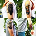 Dalin 4 Sheets Temporary Tattoos, Lotus, Owl, Skull