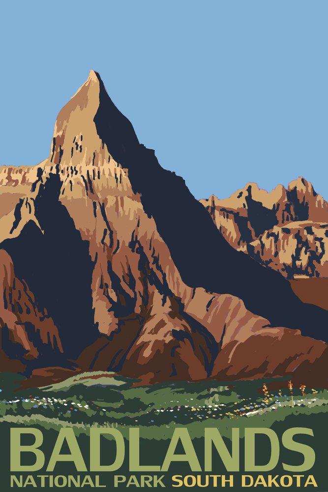 Badlands National Park, South Dakota (12x18 Art Print, Wall Decor Travel Poster)