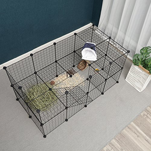 SONGMICS Small Pet Playpen, Metal Wire Apartment-Style Two-Storey Animal Fence and Kennel, Comfortable Pet Premium Villa for Guinea Pigs, Rabbits, Includes Rubber Mallet for Indoor Use ULPI02H by SONGMICS (Image #3)