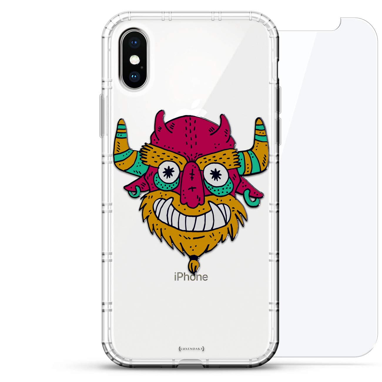 FANTASY: Colorful Monster with Horns | Luxendary Air Series 360 Bundle: Clear Silicone Case with 3D printed design and Air-Pocket Cushion Bumper + ...