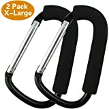 2 Pack X-Large Stroller Hook Set for Mommy By JINSEY. Two Great Organizer Accessories for Hanging Diaper & Shopping Bags & Purses. Clip Fits All Single and Twin Travel Systems & Baby Joggers