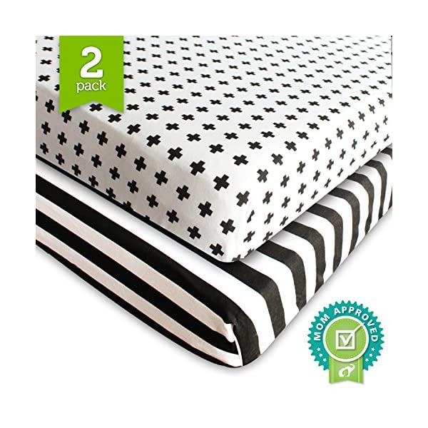 Crib-Sheet-Fitted-Jersey-Cotton-2-Pack-Black-White-Stripes-Cross-by-Ziggy-Baby