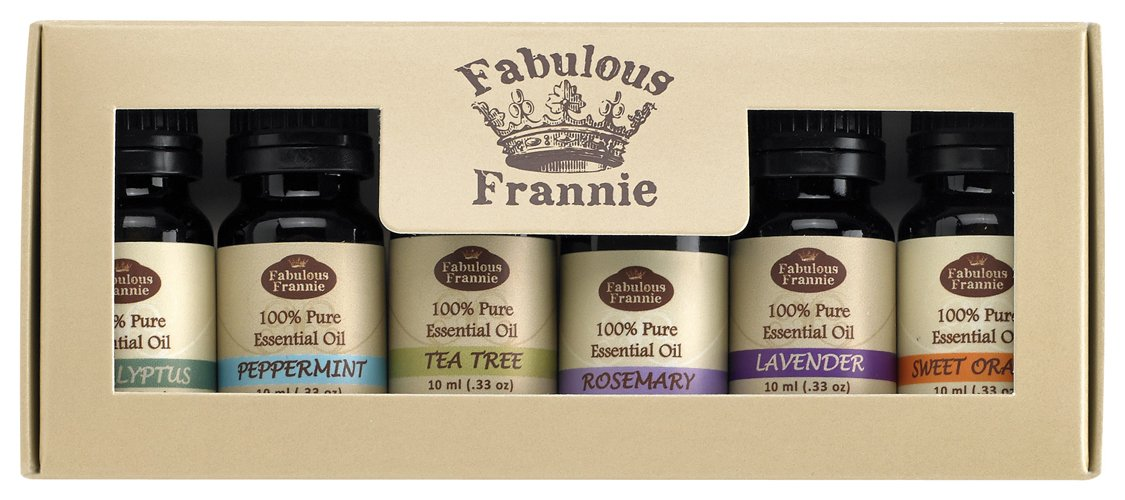 Essential Oil Basic Sampler Set 6/10ml - 100% Pure Therapeutic Grade - Basic Sampler Set arrives in a box with the following oils: Peppermint, Sweet Orange, Lavender, Tea Tree, Eucalyptus and Rosemary. Fabulous Frannie