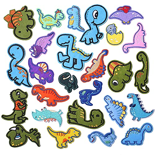 AXEN 26PCS Dinosaur Embroidered Iron on Patches DIY Accessories, Assorted Dinosaur Decorative Patches, Cute Sewing Applique for Jackets, Hats, Backpacks, Jeans, 26 Pieces Package