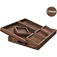 Ationgle 7 Pieces Wood Serving Trays with Handles, Rectangular Wooden Nesting Serving Trays Set for Breakfast, Coffee Table, Fruit Tea Utensil Tray Brown