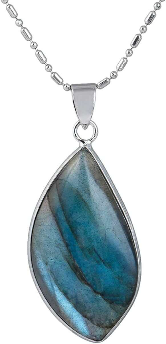 mookaitedecor Colgante de Cristal de labradorita Natural, Collar de Piedras semipreciosas curativas