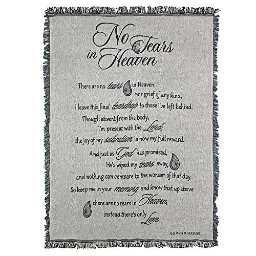 No Tears in Heaven on Grey Memorial 48 x 68 All Cotton Tapestry Throw Blanket