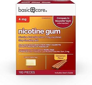 Basic Care Coated Nicotine Polacrilex Gum, 4 mg (nicotine), Cinnamon Flavor, Stop Smoking Aid, 160 Count