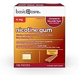 Amazon Basic Care Coated Nicotine Polacrilex Gum, 4 mg (nicotine), Cinnamon Flavor, Stop Smoking Aid, 160 Count