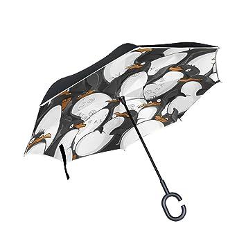 BENNIGIRY Paraguas invertido para Coche, Diseño de Pingüino, Resistente al Viento y a los Rayos