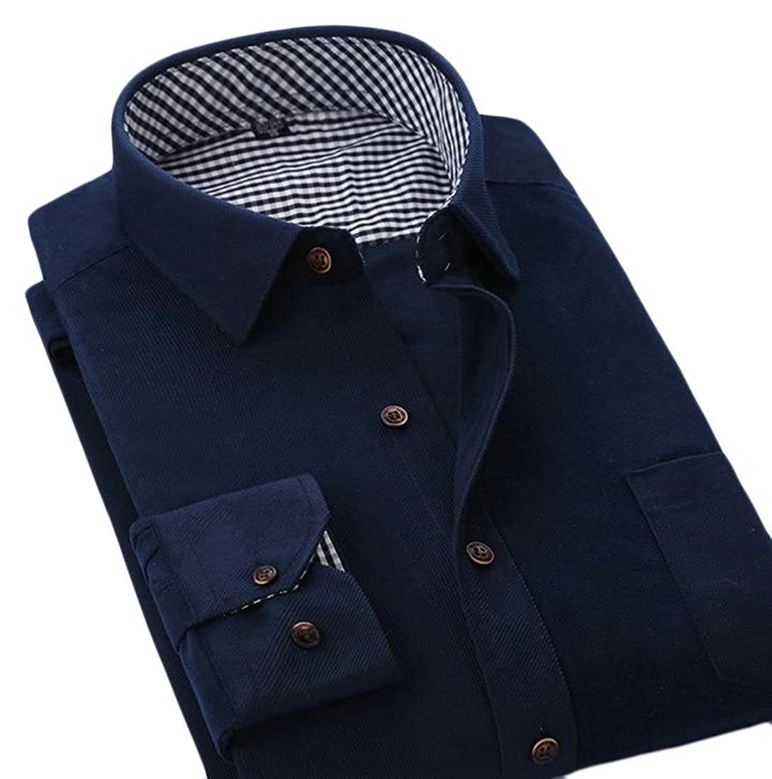 Cromoncent Mens Casual Classic Corduroy Long Sleeve Button Down Shirt Navy Blue M
