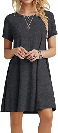 POPYOUNG Women's Summer Casual Tshirt Dresses Short Sleeve Boho Beach Dress