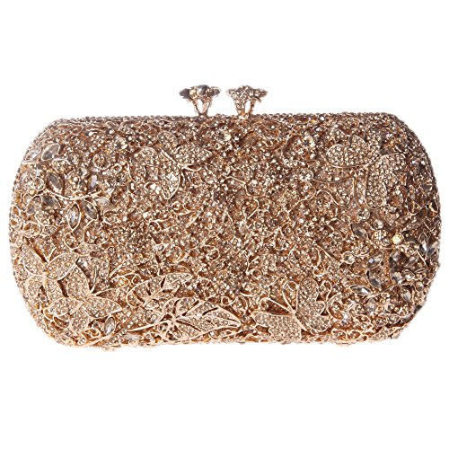 Fawziya Floret Kiss Lock Butterfly Clutch Chain Purse Crystal Clutch Evening Bag-Smoky Yellow