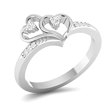 chandrika pearls gems jewellers 925 sterling silver real diamond valentine ring for girls women
