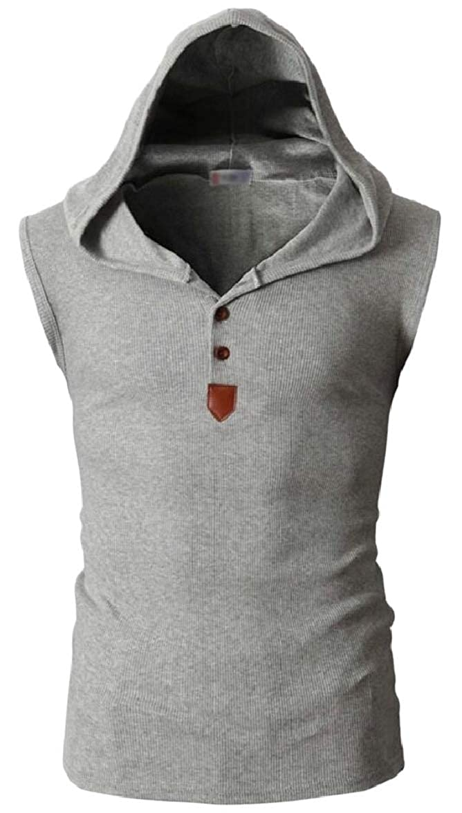 Smeiling Mens Hoodies V-Neck Sleeveless Slim Solid Color Vest Tank Tops