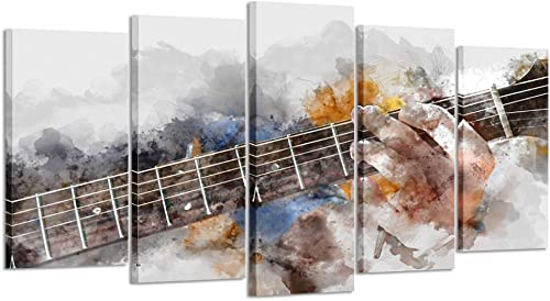 Kreative Arts Music Artistic Canvas Wall Art Guitar 5 Panel Watercolor Painting Picture Print on Canva