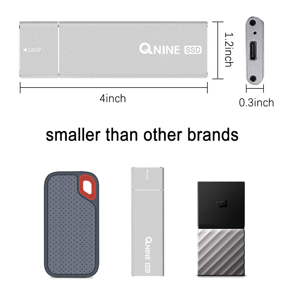 QNINE External SSD Hard Drive 1 TB (1.1 oz Weight), Portable SSD USB C for MacBook, USB 3.1 High Speed External SSD for Laptop, Xbox One X, etc by QNINE (Image #3)