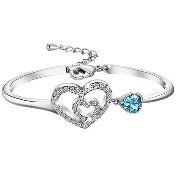 57240614b En White & Blue Double Heart Swarovski Crystal And Platinum Plated Bracelet,  Gift For Women