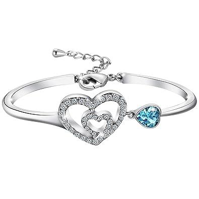 a4c6d28d967c53 Atmoko Bracelet en Cristal Swarovski Blanc et Bleu avec Double Cœur et  Plaqué Platine, Cadeaux