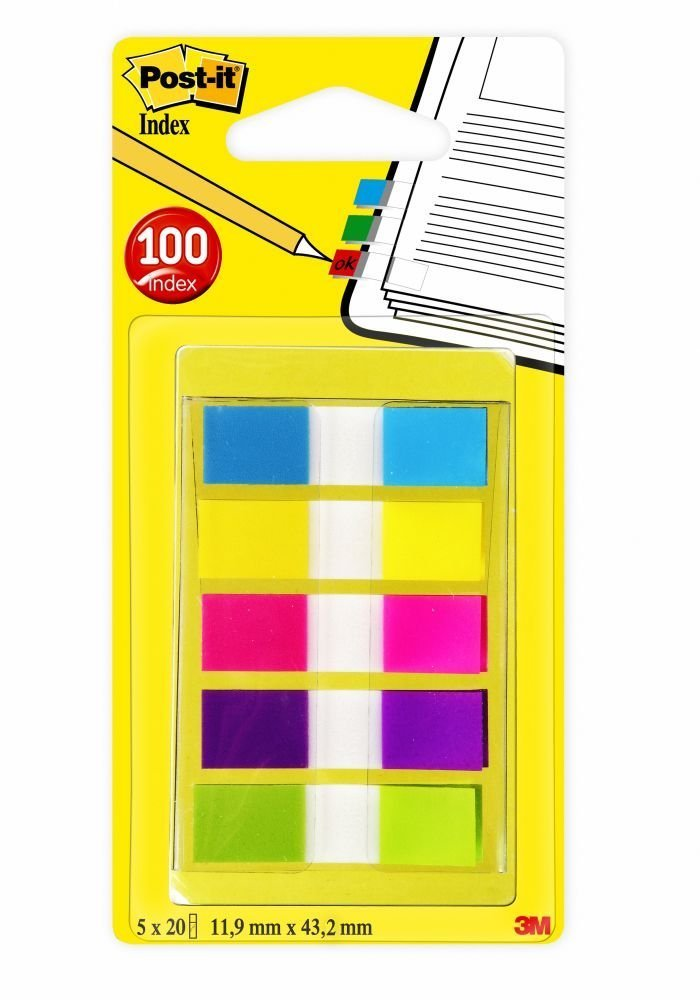 Post-it Flags with On-the-Go Dispenser, Assorted Bright Colors, 1/2-Inch Wide, 100/Dispenser, 1-Dispenser/Pack, 4-PACK