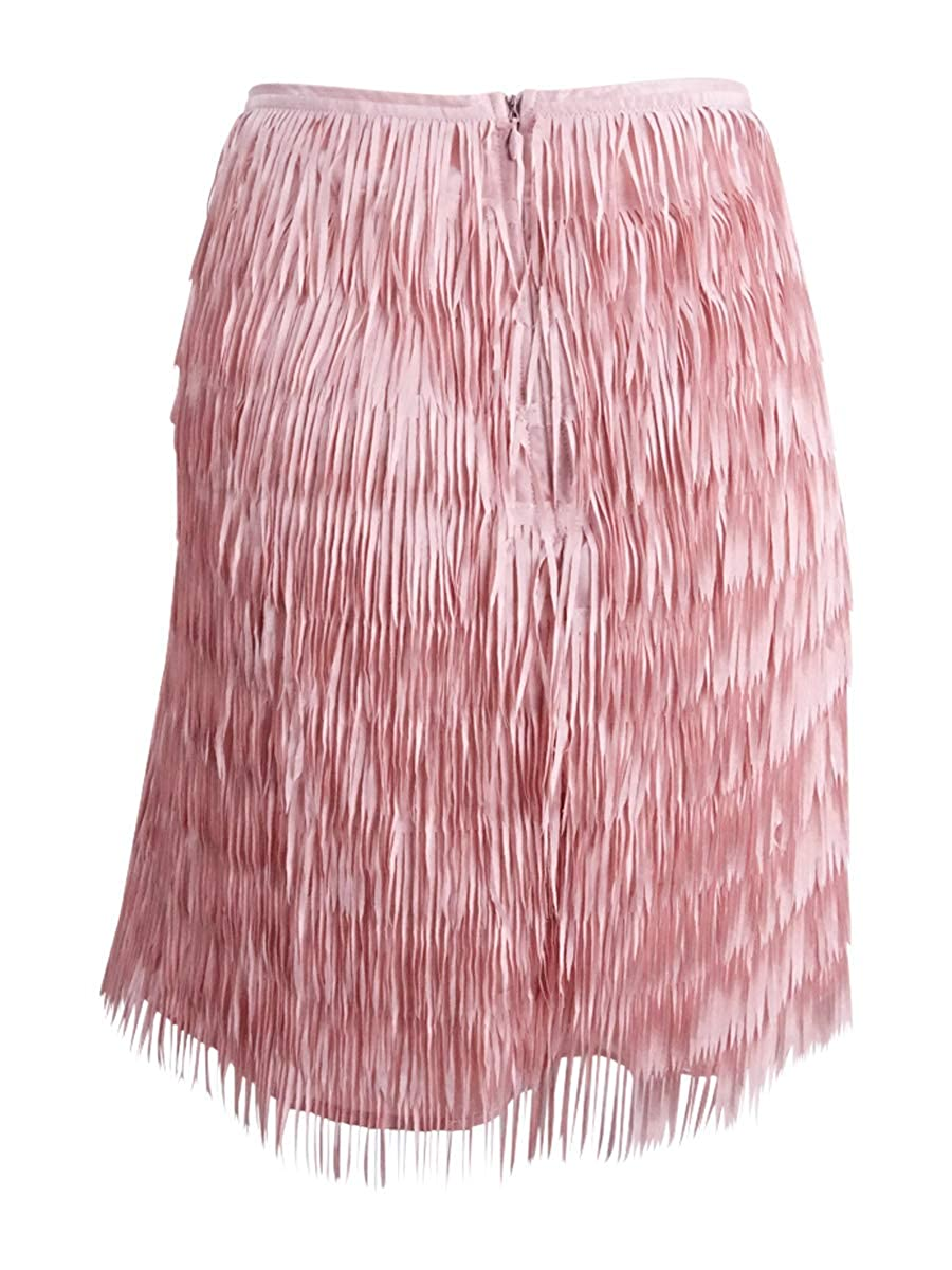 28bbb1a33 Mare Mare Womens Bran Layered Fringe Mini Skirt Pink M at Amazon Women's  Clothing store: