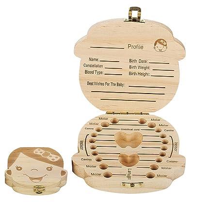 Caja de dientes para bebé, cajas de madera personalizadas, caja de recuerdo, organizador