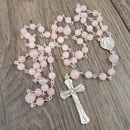 Rose Quartz Rosary with Italian made crucifix & centrepiece, includes Gift Box