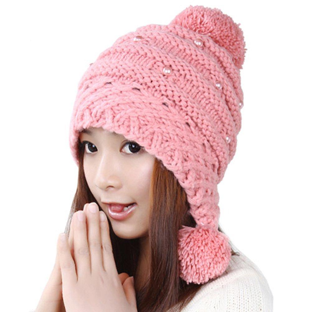 ファッションレディース冬厚みニットかぎ針編み帽子Beanie with Pom PomスキーキャップEarmuffsニット帽子  ピンク B00PAGZCPC