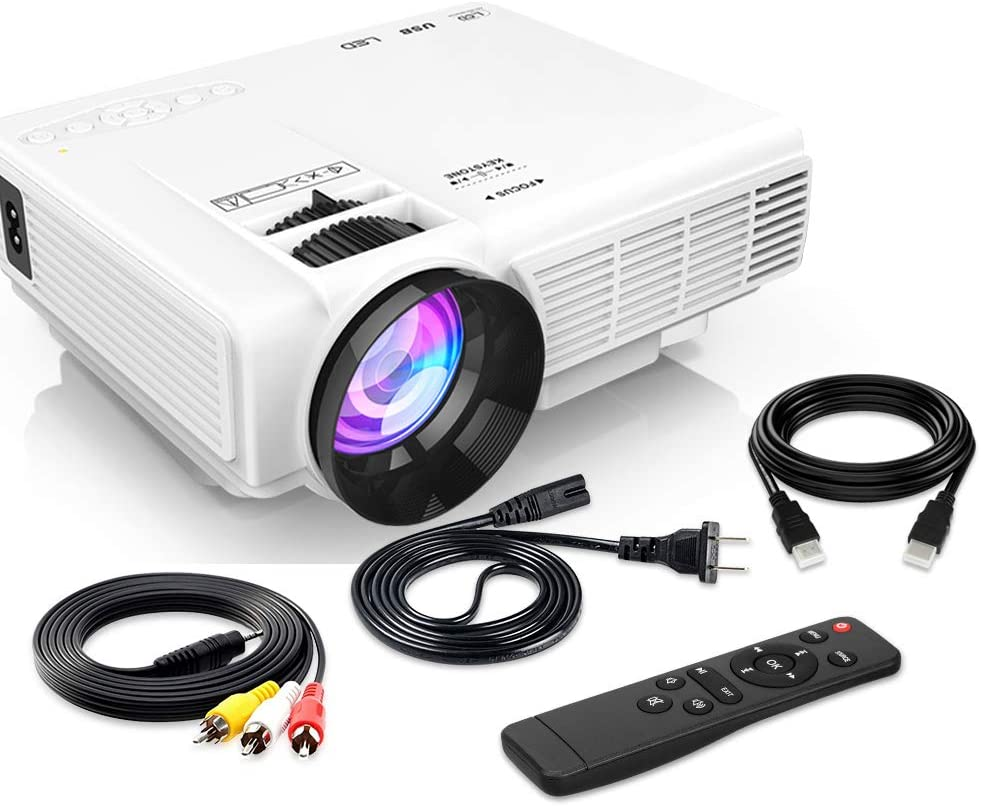 "[Latest Upgrade] 4500Lumens Mini Projector, Full HD 1080P 170"" Display Supported, PS4,TV Stick, Smartphone, USB, SD Card Supported, Great for Home Theater Movies"