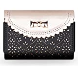 WWW Business Card Holder,[Luxurious Romantic Carved Flower] Leather Business Card Case with [Magnetic Shut] for Men & Women,
