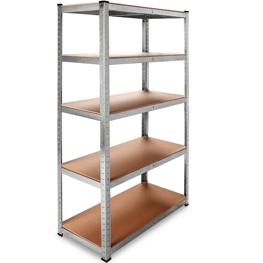 2x Deuba Duty Industrial Shelving Unit 5 Tier Garage Metal Racking Galvanized Storage Shelves Steel MDF Boltless | 875Kg Capacity | CONVERTS TO WORKBENCH | Silver 180x90x40cm
