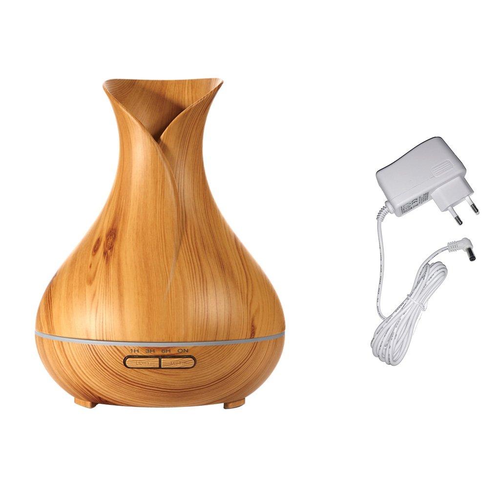 MagiDeal Holzmaserung Luftbefeuchter Lufterfrischer Aroma Diffuser, 400ml Kapazität mit EU Stecker - Leichtes Holz