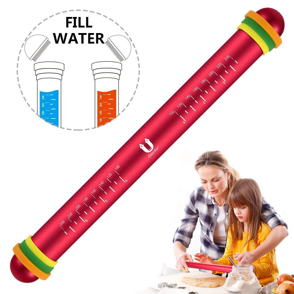 Uarter Rolling Pin, Fondant Rolling Pins with Thickness Rings, Temperature Control for Baking Dough, Pizza, Pie, Pastries, Pasta and Cookies, 12.2'' Length, Aluminum Alloy, Red