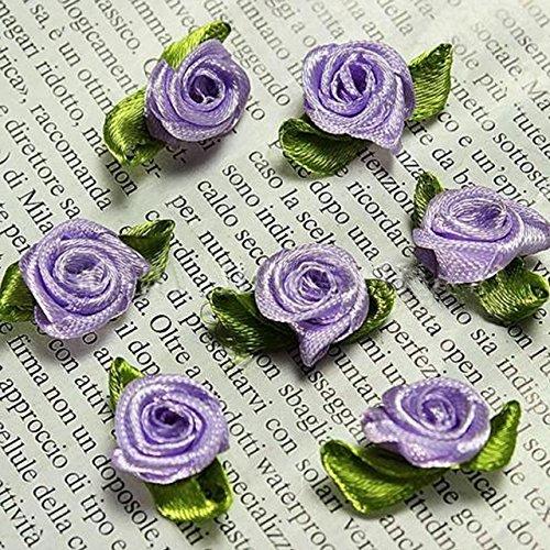 Tiny Purple Flowers - 100 PCS Mini Ribbon Bows Roses Flowers Craft Artificial Ornament Applique Sewing DIY (Purple)