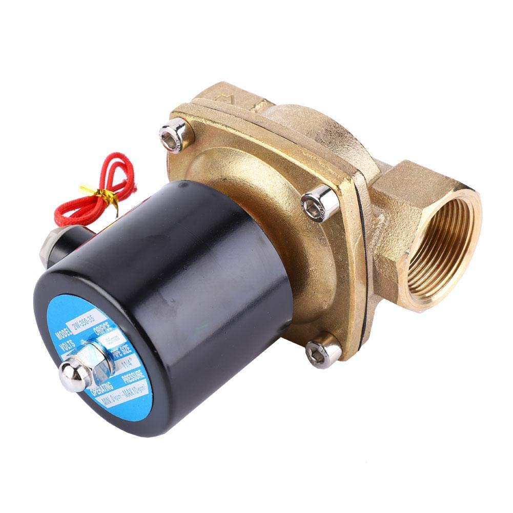 Brass Two-Way Straight-Through Type NC Solenoid Valve for Air Water Oil Gas Electric Solenoid Valve Normally Closed