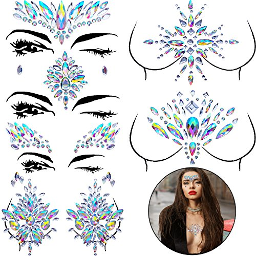 BBTO Set of 6 Face Gems Stickers Breast Body Jewelry Stickers Crystal Nipple Tattoo Stickers for Festival Rhinestone Decorations