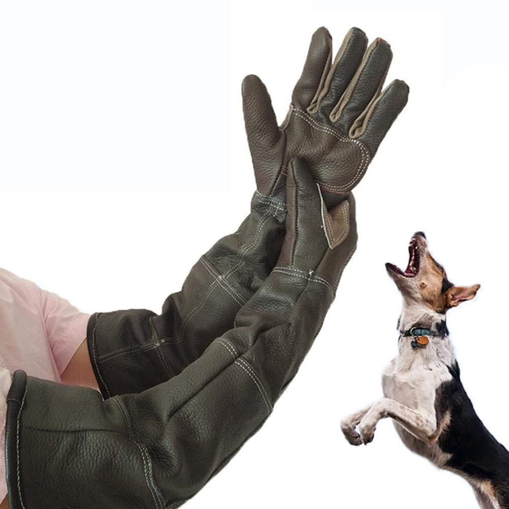 Wood.L Animal Handling Gloves, Animal Handling Anti-bite/scratch Gloves Safe Durable Leather Gloves for Dog Cat Bird Snake Wild Animals and Gardening Gloves