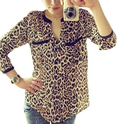 Camisetas Mujer SHOBDW Nuevo Estampado De Leopardo Tops De Gasa De Manga Larga Blusa Delgada Casual Camisa De Mujer De Oficina Camiseta con Cuello En V para Mujer: Amazon.es: Ropa y accesorios