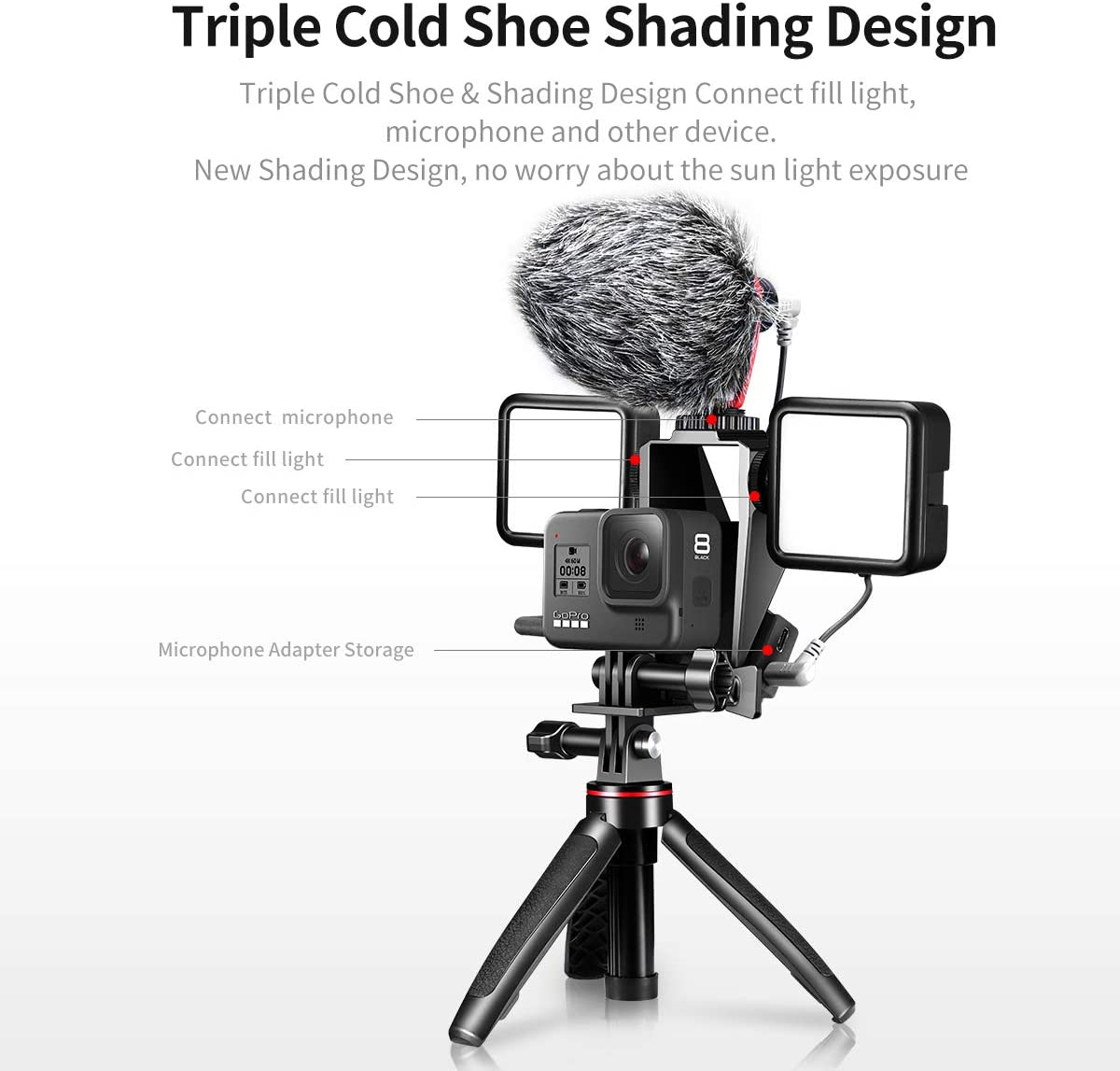 Vlog Selfie Flip Mirror for GoPro 8 Triple Cold Shoe for Microphone LED Video Light Mounting for GoPro Hero 8 Video Accessories Patent Audio Adapter Storage