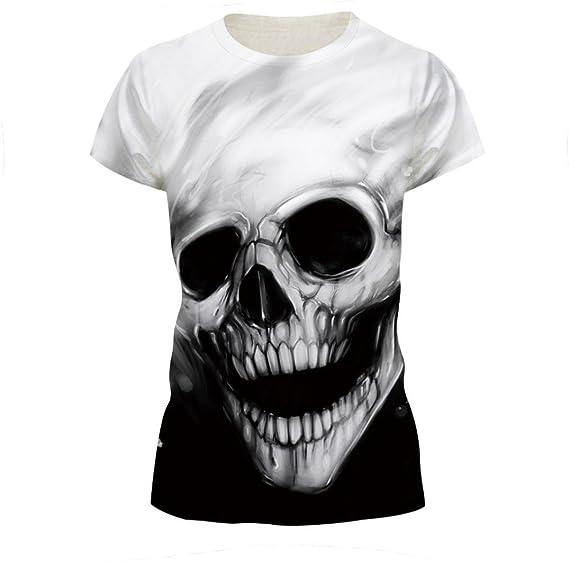 Naturazy Blusa de Moda O-Cuello Tops Patrones Personalizado Manga Skull Lovers Camiseta de Impresión Camiseta de Manga Corta Blusa Tops Camiseta de Algodón ...