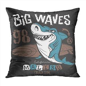 Suike Throw Pillow Cover Surf Shark Design Beach Comic Illustration Animal Hidden Zipper Home Sofa Decorative Cushion Case 16x16 Inch Square Printed Pillowcase