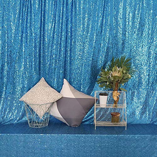 GFCC Karaoke Show Backdrop, Sequin Photography Backdrop, Turquoise Background - 4x7.5ft ()