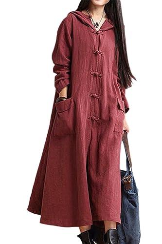 Las Mujeres Mas El Tamaño De Una Linea Monocolor Sudadera Con Capucha Oversize Long Coat