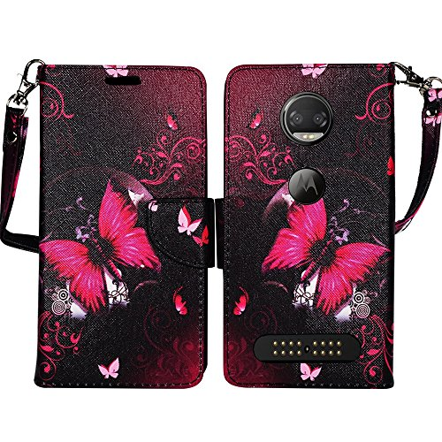 Moto Z2 FORCE Case, Moto Z Force Edition (2nd Gen.) Wallet Case Pouch Premium PU Leather Flip Cover w/ [Kickstand] Card Holder Wristlet for Motorola Moto Z2 FORCE by Zase (Hot Pink Butterfly Flower)