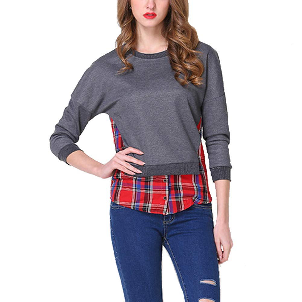 Oliveya Womens Grey Sweatshirt Round Neck Casual Pullover Hoodless Blouse Tops L