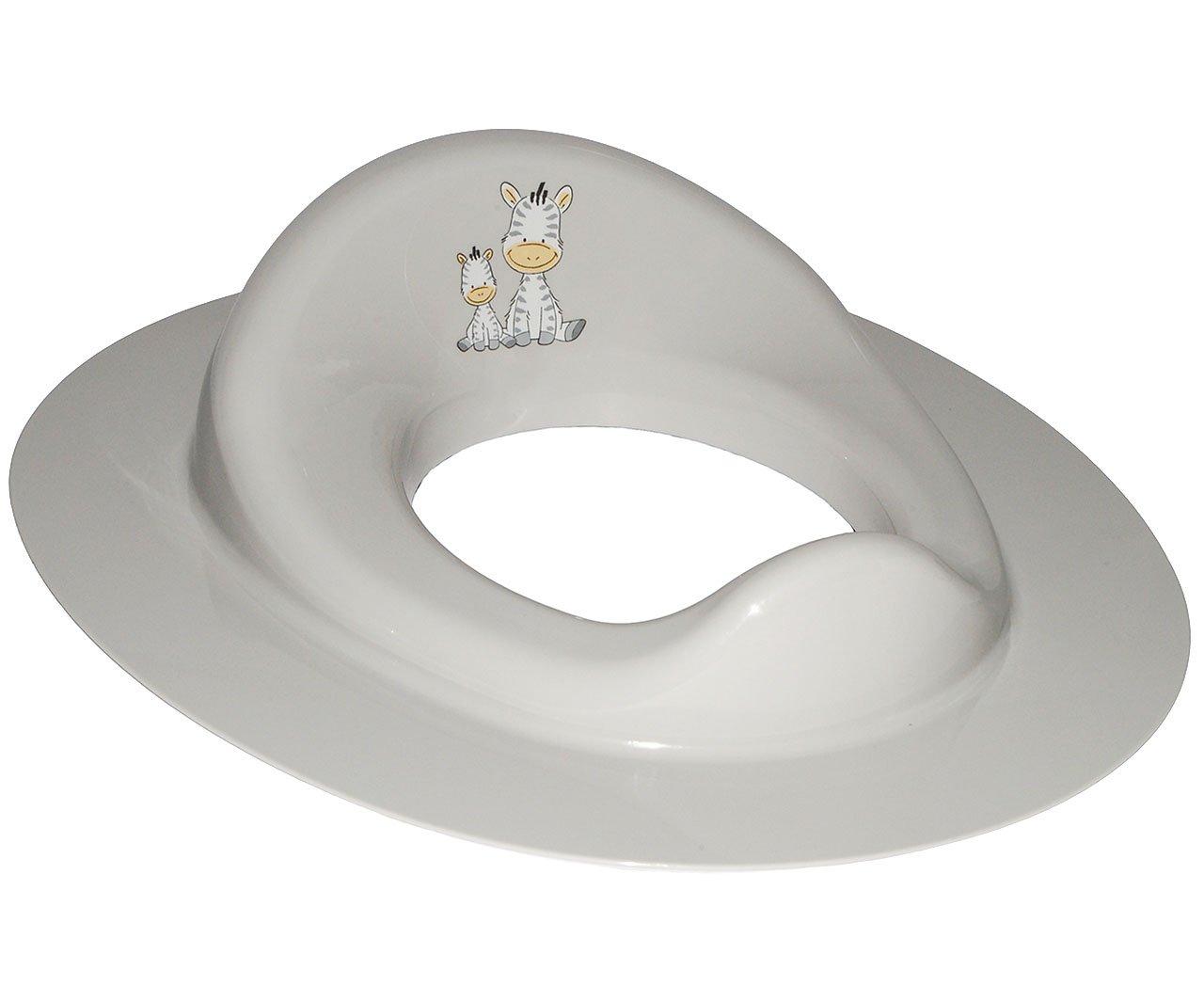Unbekannt Toilettensitz / Toilettenaufsatz / Sitzverkleinerer -  Zebra - in grau  - incl. Namen - WC Toilettentrainer fü r Kinder - Jungen & Mä dchen - Standardgrö ß e mi.. Kinder-land