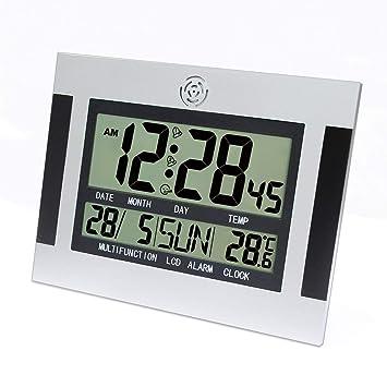 Escritorio Digital. Reloj Despertador de Pared con termómetro y Calendario. Pantalla LCD Grande.: Amazon.es: Hogar