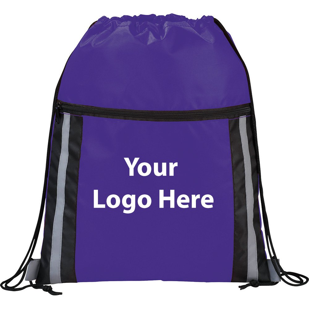 Deluxe Reflective Drawstring Sportspack - 100 Quantity - $3.25 Each - PROMOTIONAL PRODUCT / BULK / BRANDED with YOUR LOGO / CUSTOMIZED by Sunrise Identity