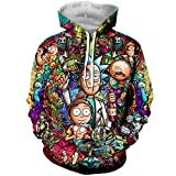 YX GIRL 3D Hoodies Unisex 3D Printed Rick and Morty Hoodie Pockets Hoodie